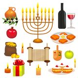 Set of Hanukkah Celebration Elements. Colorful Objects in Cartoon Style. Set of Hanukkah Celebration Elements. Colorful Objects in Cartoon Style for Greeting