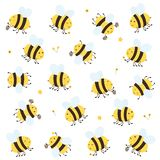 Set of Happy Bees. Cartoon happy bees with honey and flowers isolated on white background, illustration royalty free illustration