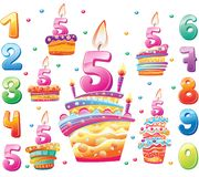 Set of Happy birthday cakes and numbers for each year stock photos