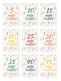 Set of happy birthday card covers for anniversary 5,10,15,20,25,30,35,40,45 years. Set of happy birthday card covers for anniversary Royalty Free Stock Photography
