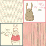 Set of happy birthday card with cute bunny Stock Photo