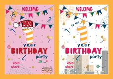 Set of Happy birthday cards design for one year old baby vector illustration