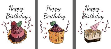 Set of happy birthday cards in vector. royalty free illustration