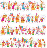 Set of Happy birthday cartoon border Royalty Free Stock Photos