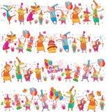 Set of Happy birthday cartoon border royalty free illustration