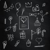 Set Happy Birthday on chalk board. Set Happy Birthday signs and symbols on chalk board Royalty Free Stock Image