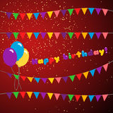 Set happy birthday. Colorful garland vector set. illustration of holiday with flags and balloons. Set happy birthday royalty free illustration