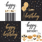 Set with happy birthday creative hand drawn backgrounds Royalty Free Stock Photos