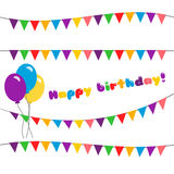 Set happy birthday. garland. Vector illustration of holiday with flags and balloons. Set happy birthday. garland isolated on white background vector illustration