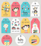 Set of Happy Birthday gift tags and cards. Vector illustration royalty free illustration