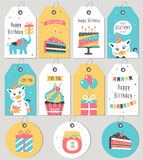 Set of Happy Birthday gift tags and cards. Vector illustration stock illustration