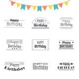 Set of Happy Birthday greeting cards. Birthday theme labels. Typ Stock Image