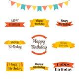 Set of Happy Birthday greeting cards. Birthday theme labels. Typ Royalty Free Stock Photos