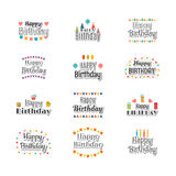 Set of Happy Birthday greeting cards. Cute postcard for your des Stock Image