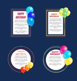 Set Happy Birthday Greetings Frame Balloon Posters. Set of happy birthday greeting cards with frames, place for text, decorated by helium balloons Stock Photos