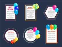 Set Happy Birthday Greetings Frame Balloon Posters. Set of happy birthday greeting cards with frames, place for text, decorated by helium balloons Royalty Free Stock Photos