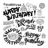 Set of Happy Birthday Hand Drawn Calligraphy Pen Brush Royalty Free Stock Images