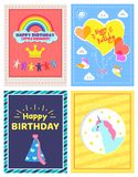 Set of Happy Birthday Little Princes Pictures. Vector illustration with yellow crown, magic unicorn, festive cone, and lot of hearts, clouds and birds Stock Photography