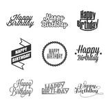 Set of Happy Birthday`s lettering. stock illustration