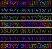 Set of Happy birthday! signs neon laser  colorful vibrant banners Stock Images