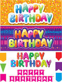 Set of  happy birthday texts. Set of colorful happy birthday texts Royalty Free Stock Photography