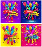 Set of Happy birthday typography design for greeting poster and cards with balloon, confetti and gift box, design template for bir. Thday celebration. Vector stock illustration