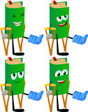 Set of happy book with a broken leg walking on crutches Royalty Free Stock Images