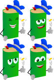 Set of happy book flipping a coin Royalty Free Stock Image