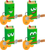 Set of happy book guitar player Royalty Free Stock Images