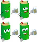 Set of happy book holding beer Stock Photography
