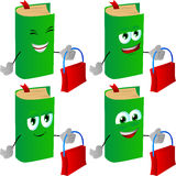 Set of happy book holding an empty bag Stock Images