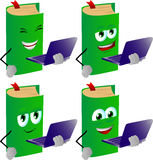 Set of happy book holding laptop Royalty Free Stock Photography