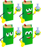 Set of happy book scientist holds beaker of chemicals Royalty Free Stock Images
