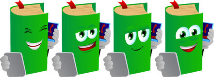 Set of happy book speaking on a smartphone while reading a tablet Stock Photo