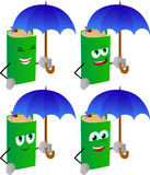 Set of happy book with umbrella Royalty Free Stock Photo