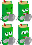 Set of happy book using a tablet Royalty Free Stock Images