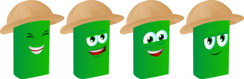 Set of happy book wearing scout or explorer hat Stock Photos