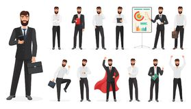 Set of happy businessman character with different poses and actions. Constructor cartoon vector illustration. Set of happy businessman character with different Royalty Free Stock Image