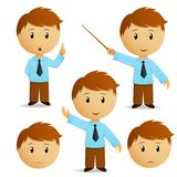 Set of happy cartoon businessman for presentation. In blue shirt with tie. Vector illustration Stock Images