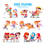 Set of happy cartoon kids playing outdoors in winter. Royalty Free Stock Photo