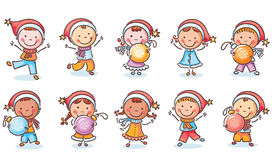 Set of happy cartoon kids in Santa hats and with Christmas ornaments Stock Photography