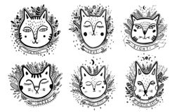 Set Happy cat drawing. Style drawing doodle. Mystic kitty art. Vector illustration royalty free illustration