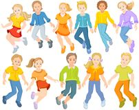 Happy children are jumping - set of jumping children. Set of happy children, vector ai, they are jumping together. White background. Different classmates, pupils Royalty Free Stock Photos