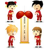 Set of Happy Chinese New Year With Boy and Girl 01 Stock Photography