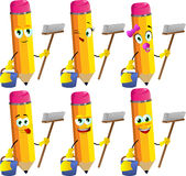 Set of happy cleaning pencils Royalty Free Stock Image
