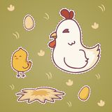 Set of happy cute cartoon chicken  character patch, vector illustration.  Stock Photo