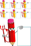 Set of happy devil pencils with blank board Royalty Free Stock Photos