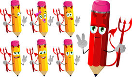 Set of happy devil pencils gesturing the peace sign Royalty Free Stock Image