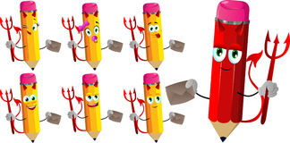 Set of happy devil pencils holding an envelope Royalty Free Stock Photo