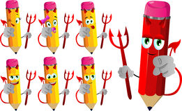 Set of happy devil pencils pointing at viewer Stock Photography